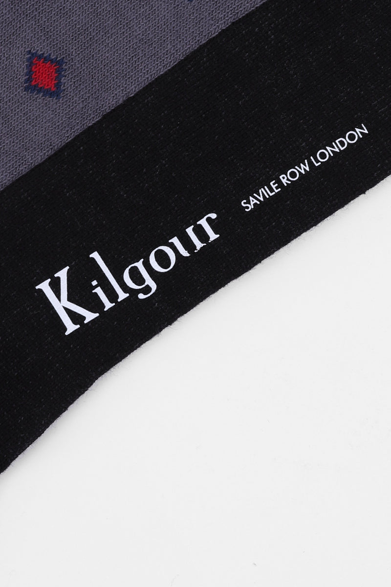 Kilgour BLACK/RED SQUARE PATTERNED SAVILE ROW SOCKS | Malford of London Savile Row and Luxury Formal Wear Sale Outlet