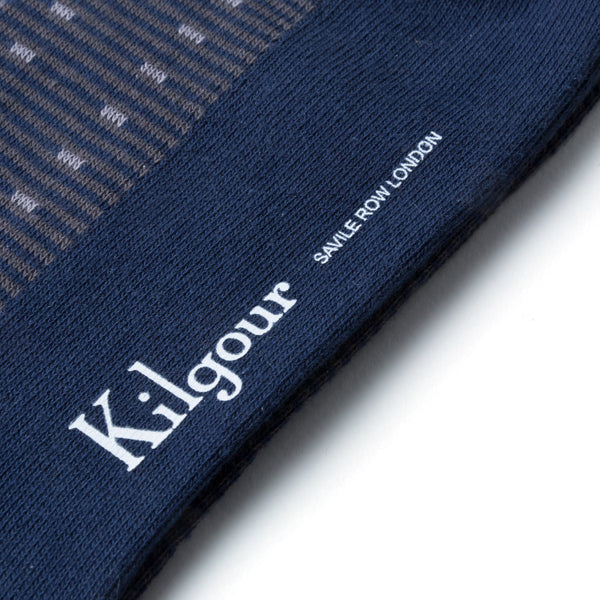 Kilgour Blue Patterned Socks | Malford of London Savile Row and Luxury Formal Wear Sale Outlet