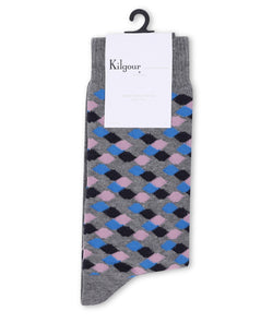 Kilgour GREY/PINK SAVILE ROW SOCKS | Malford of London Savile Row and Luxury Formal Wear Sale Outlet