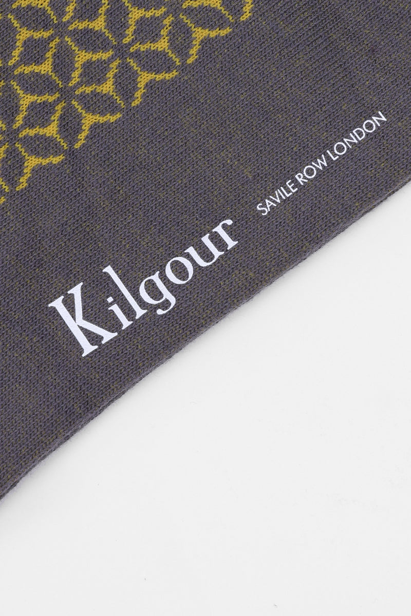 Kilgour GREY/YELLOW PATTERNED SAVILE ROW SOCKS | Malford of London Savile Row and Luxury Formal Wear Sale Outlet
