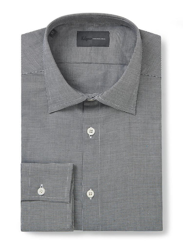 Kilgour Houndstooth Shirt Grey | Malford of London Savile Row and Luxury Formal Wear Sale Outlet