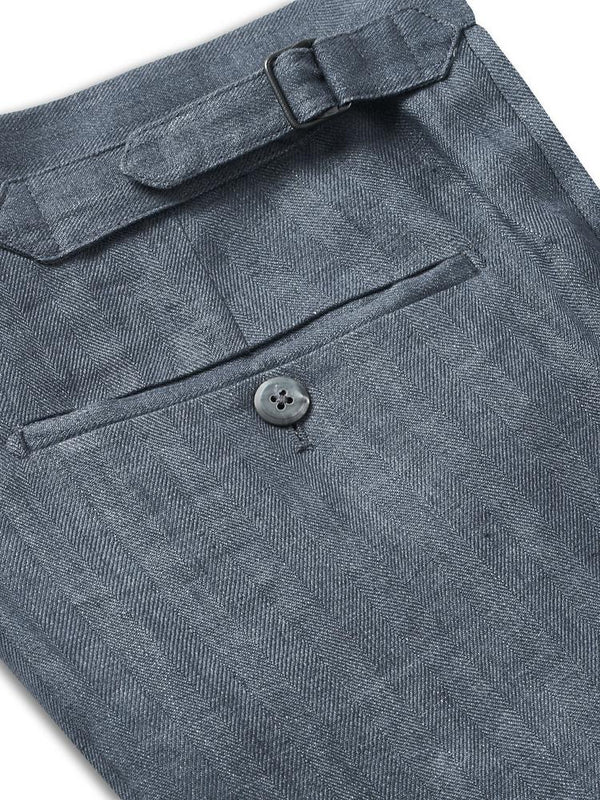 Kilgour Linen Tailored Fit Trouser Blue | Malford of London Savile Row and Luxury Formal Wear Sale Outlet