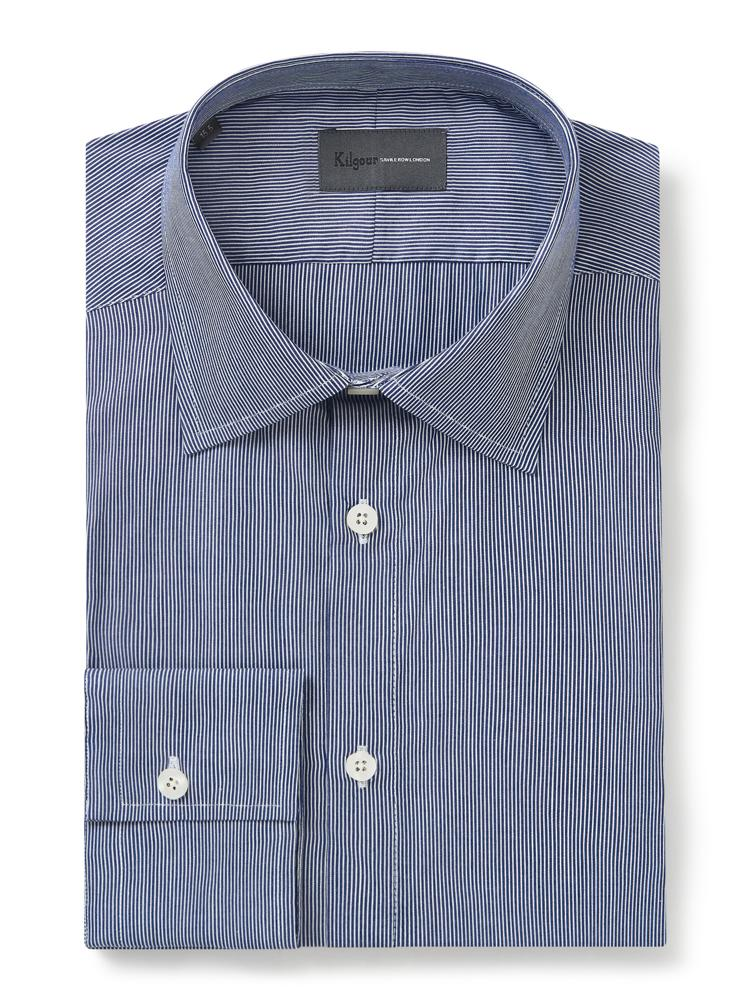 Kilgour Pinstripe Shirt Navy | Malford of London Savile Row and Luxury Formal Wear Sale Outlet