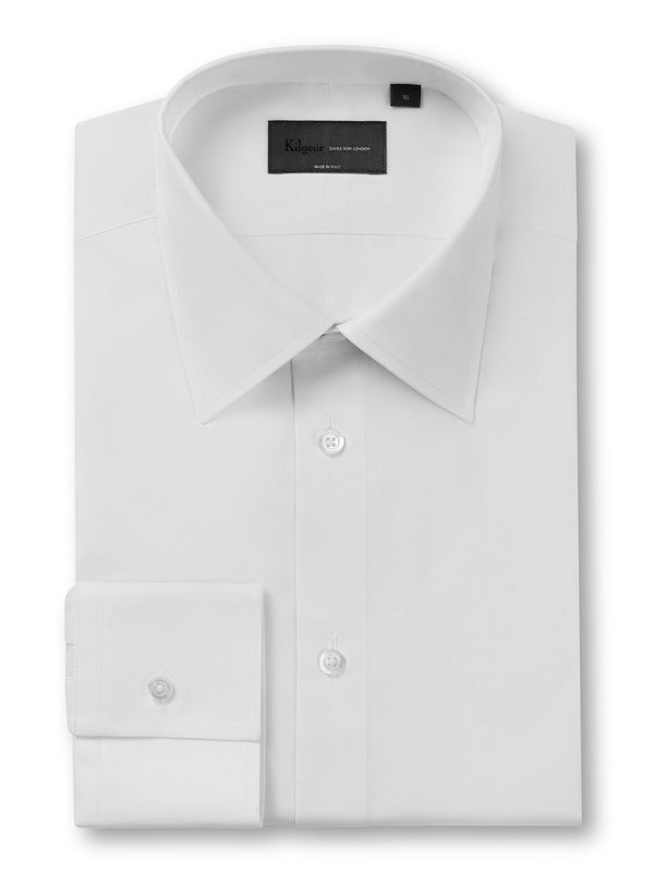 Kilgour Poplin Cotton Shirt White | Malford of London Savile Row and Luxury Formal Wear Sale Outlet