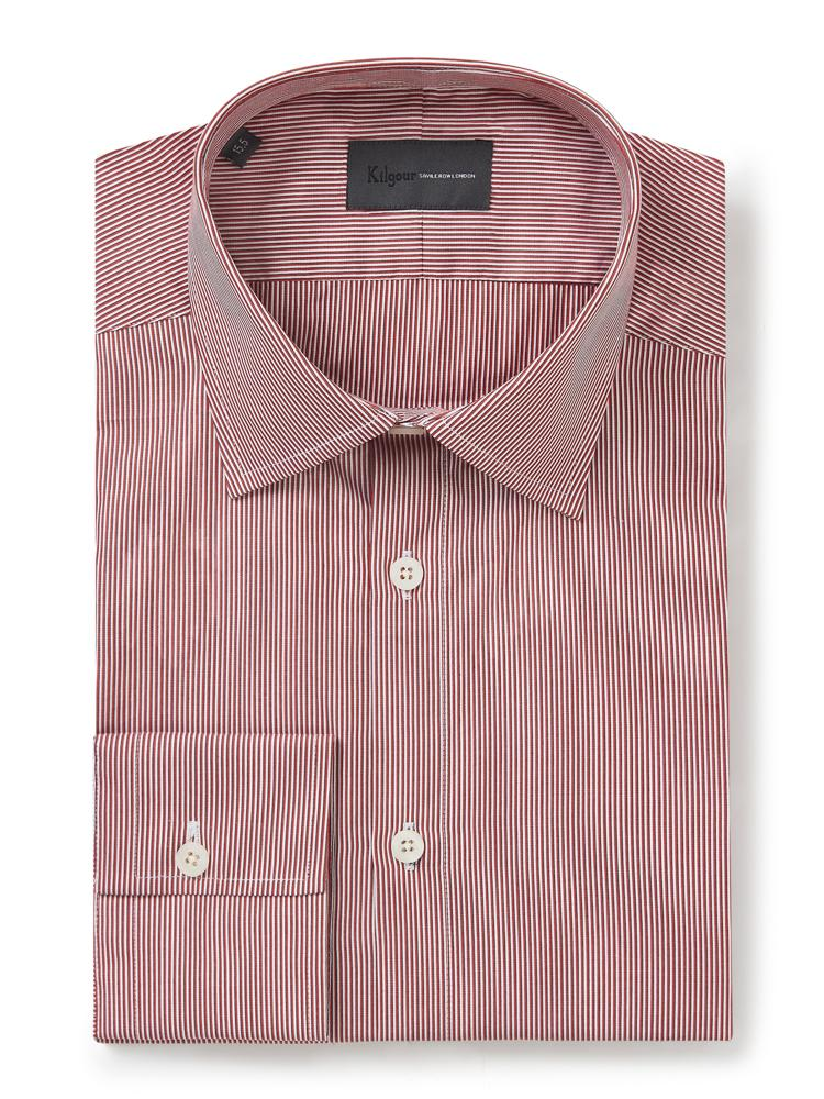 Kilgour Stripe Shirt Red Blue | Malford of London Savile Row and Luxury Formal Wear Sale Outlet