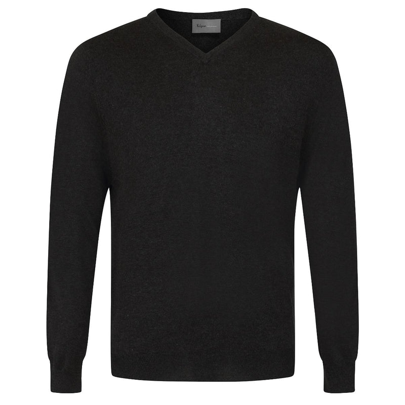 Kilgour V-Neck Silk & Cashmere Charcoal Knit | Malford of London Savile Row and Luxury Formal Wear Sale Outlet