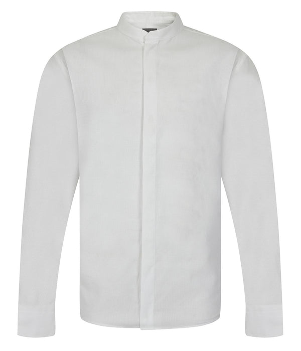 Kilgour White Grandad Collar Cotton Shirt | Malford of London Savile Row and Luxury Formal Wear Sale Outlet