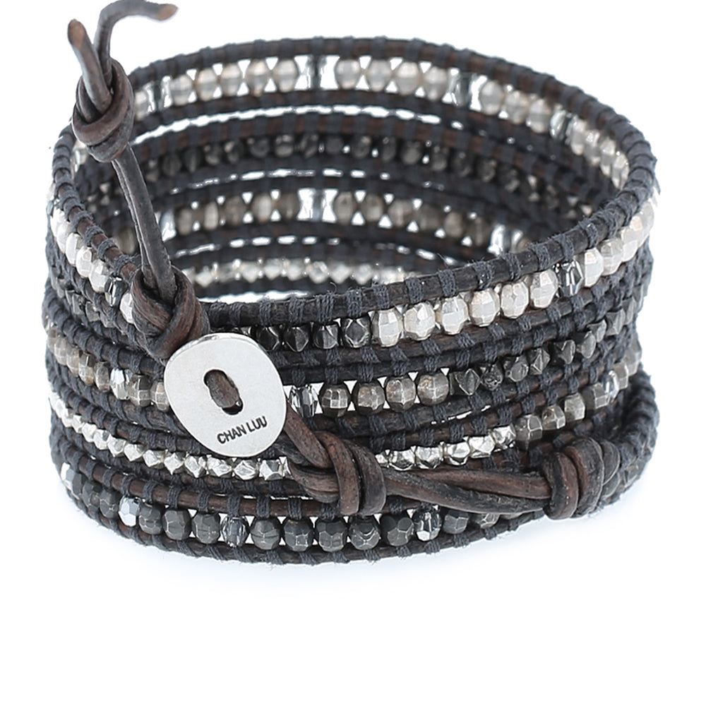Chan Luu Natural Grey Mix Crystal Wrap Bracelet