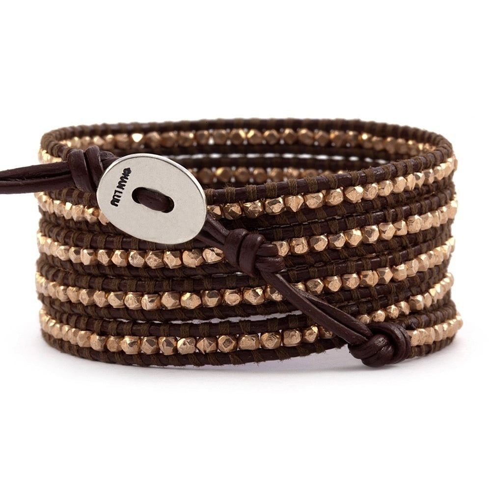 Chan Luu Rose Gold 5 Wrap on Brown Leather
