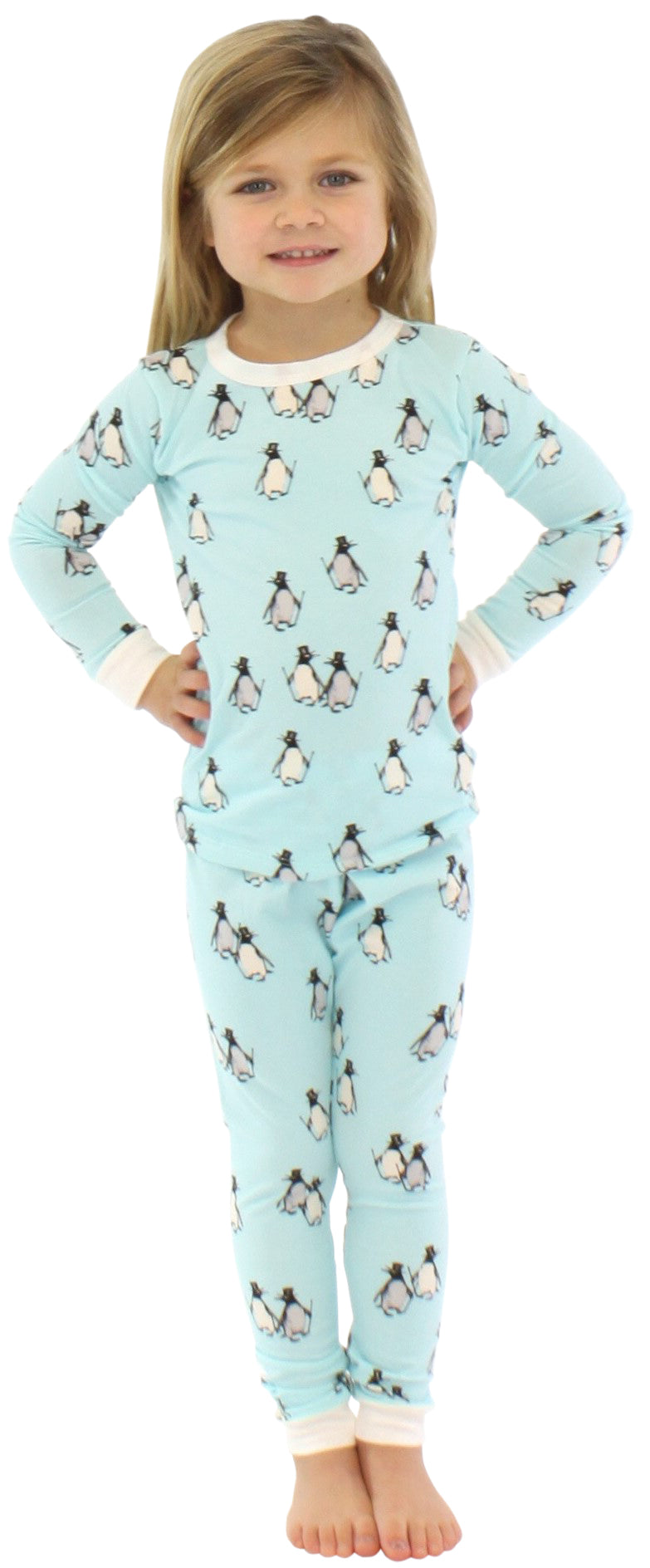 Bed Head L/S 2 Piece PJ Blue Penguins on Parade