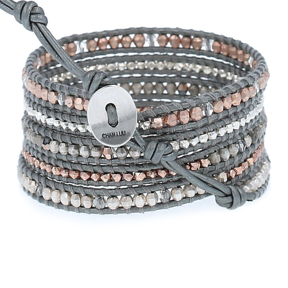 Chan Luu Grey Mix Crystal Wrap Bracelet