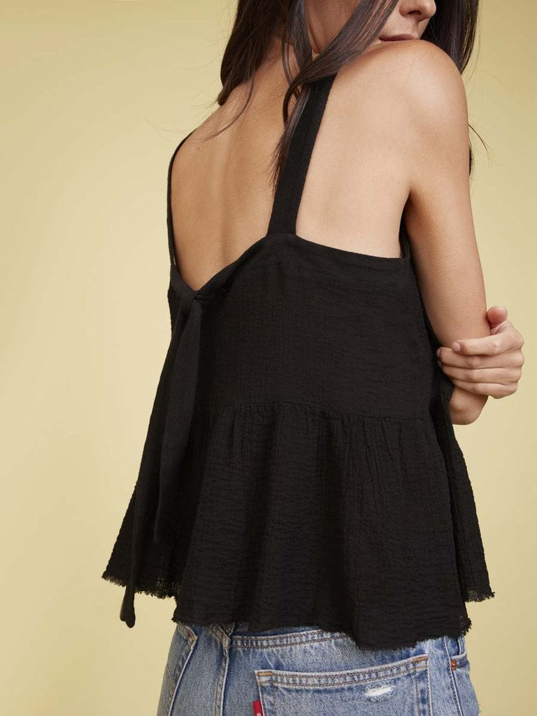 Nation LTD Giovana Tie Back Tank in Black
