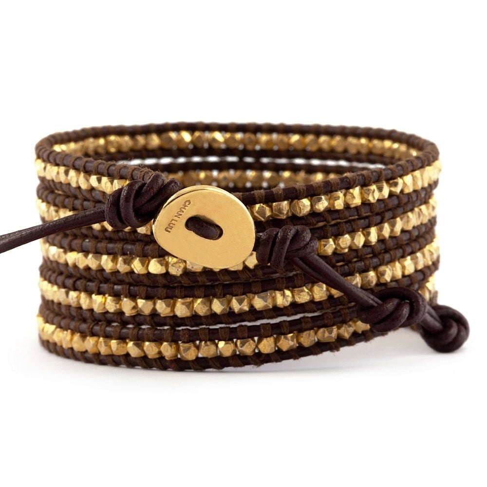 Chan Luu Vermel Gold 5 Wrap on Brown Leather