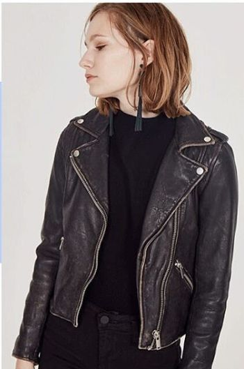 Doma Leather Biker Jacket in Black Beige