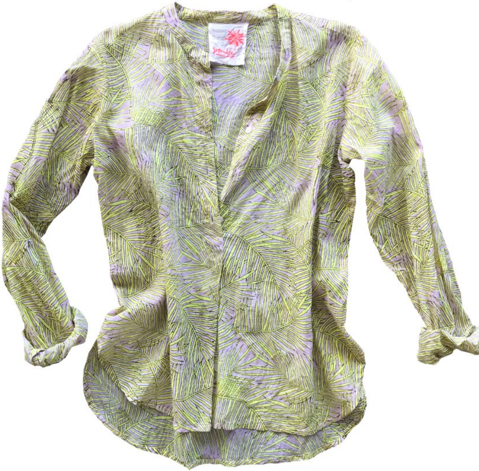 Samudra Yellow Frond Button Up Shirt