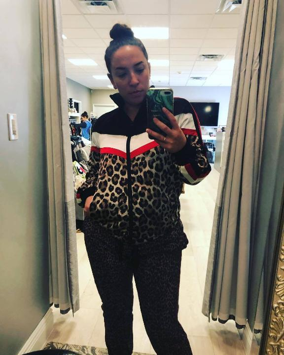 Pam & Gela Color Block Leopard Print Track Jacket