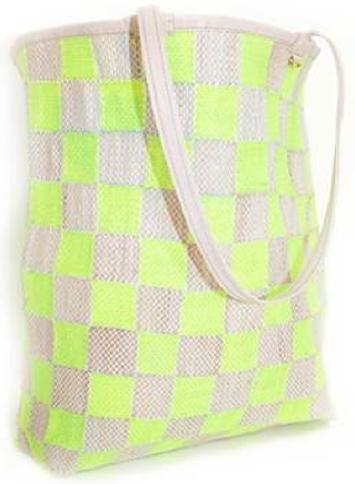 En Shalla Medium Tote in Natural /Fluo Yellow