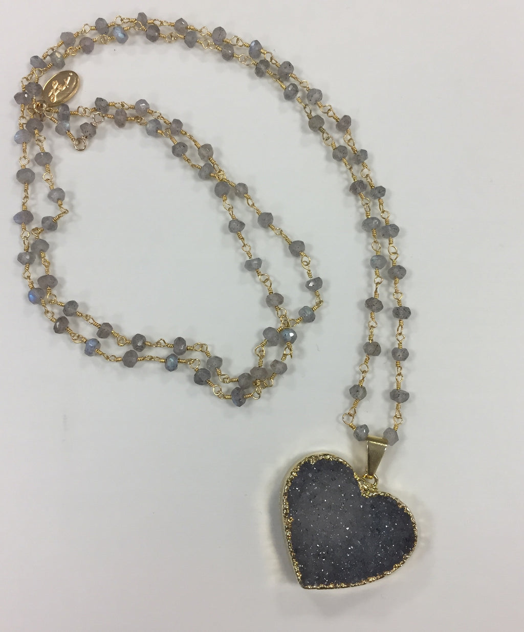 Lexi Handcrafted Quartz Large Druzzy Heart Necklace
