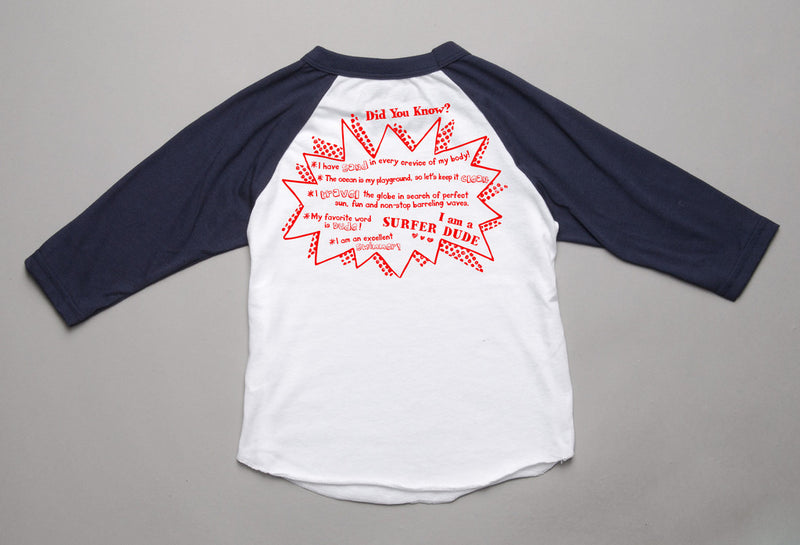 Peek-a-Zoo 3/4 Surfer Raglan in White/Navy