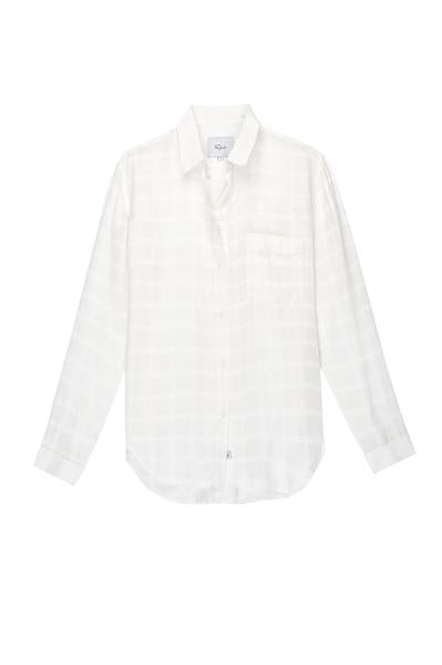 Rails Aly in White Tonal Plaid sold by 4sisters1closet https://4sisters1closet.com/products/rails-aly-in-white-tonal Ulta soft, long sleeve white plaid button-down. Single chest pocket. 100% Cupro Imported. CARE / Dry Clean Only.