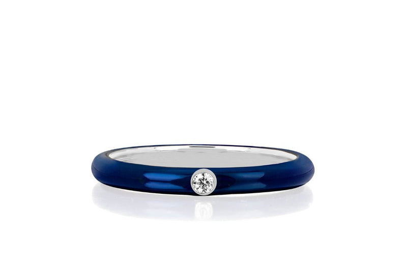 Copy of EF Collection 14K Jumbo Single Diamond  Navy Enamel Stack Ring | 4sisters1closet