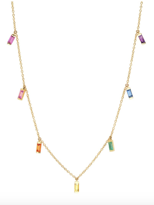 "https://4sisters1closet.com/products/eriness-14k-yellow-gold-rainbow-baguette-necklace 14K Yellow Gold Rainbow Baguette Necklace with with Rubies, Sapphires, Amethysts and Emeralds Carat Weight: 0.85 cts. Necklace can be worn at 14"" 15"" or 16"""