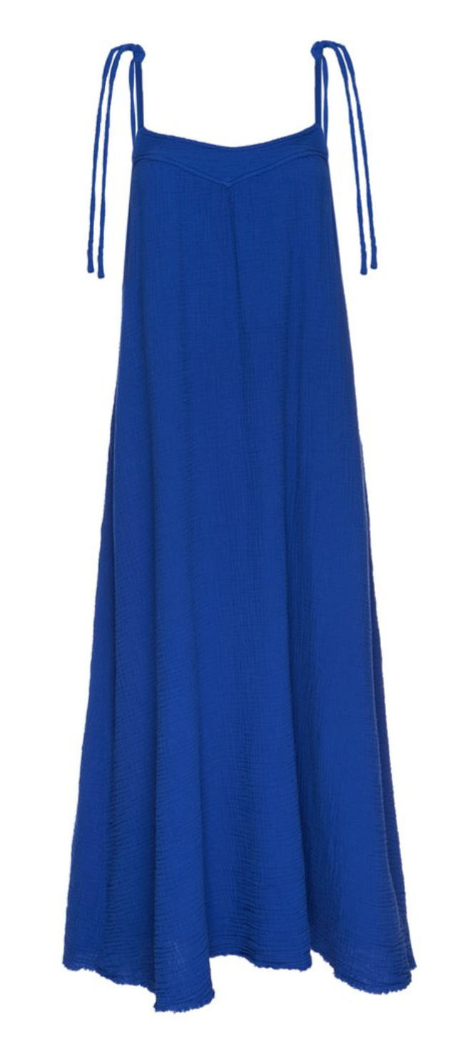 Nation Nava Tie Strap Midi Dress in Santorini