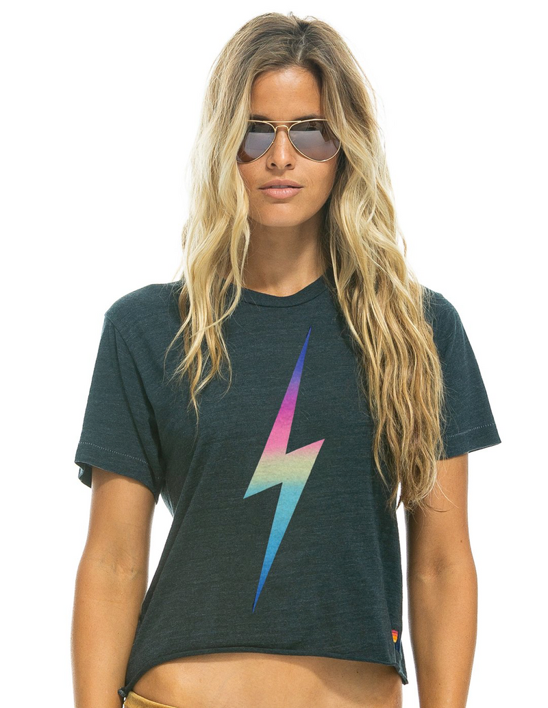 Aviator Nation Bolt Boyfriend Tee Rainbow Pink | 4sisters1closet