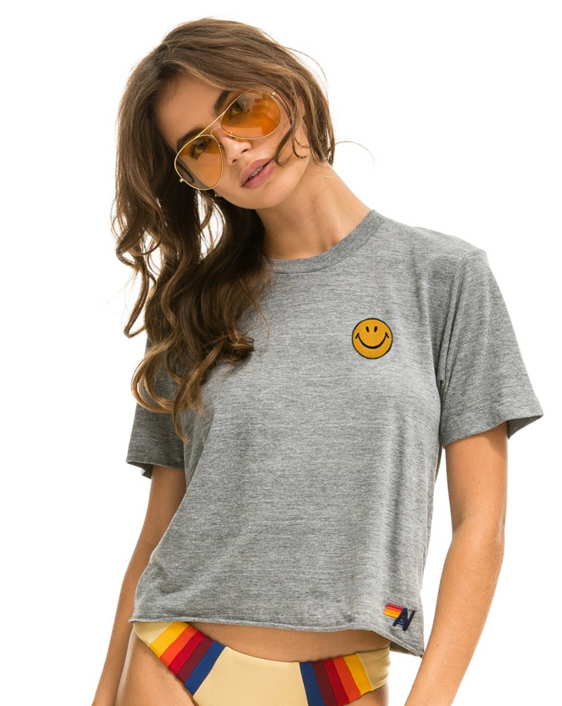 Aviator Nation Heather Grey Embroidery Smiley Face Boyfriend Tee | 4sisters1closet