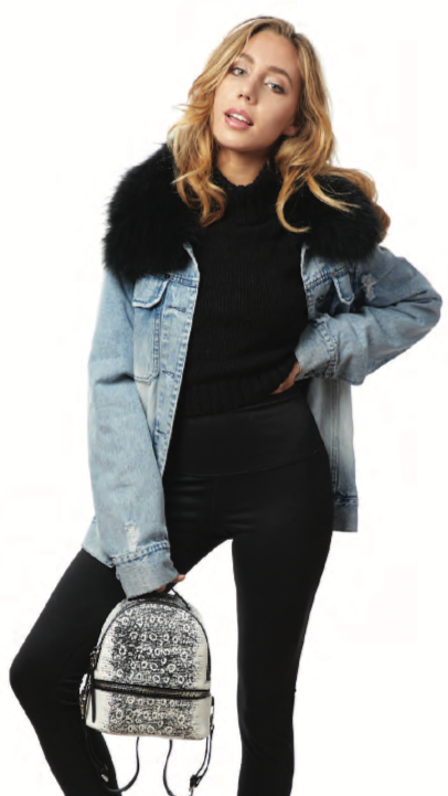 Ava/Kris Jane's oversized distressed denim jacket with removable fur trim collar. Perfect for all year! Layer with sweaters for fall and winter - remove the fur trim for spring and summer! Sold by 4Sisters1Closet
