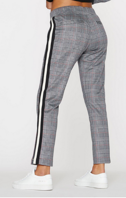 Pam & Gela Glen Plaid Cropped Track Pant with Side Stripe