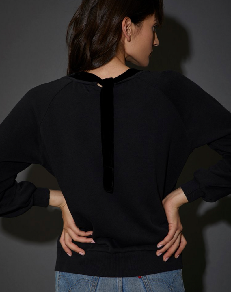 Nation Alice Velvet Sweatshirt in Black | 4sisters1closet