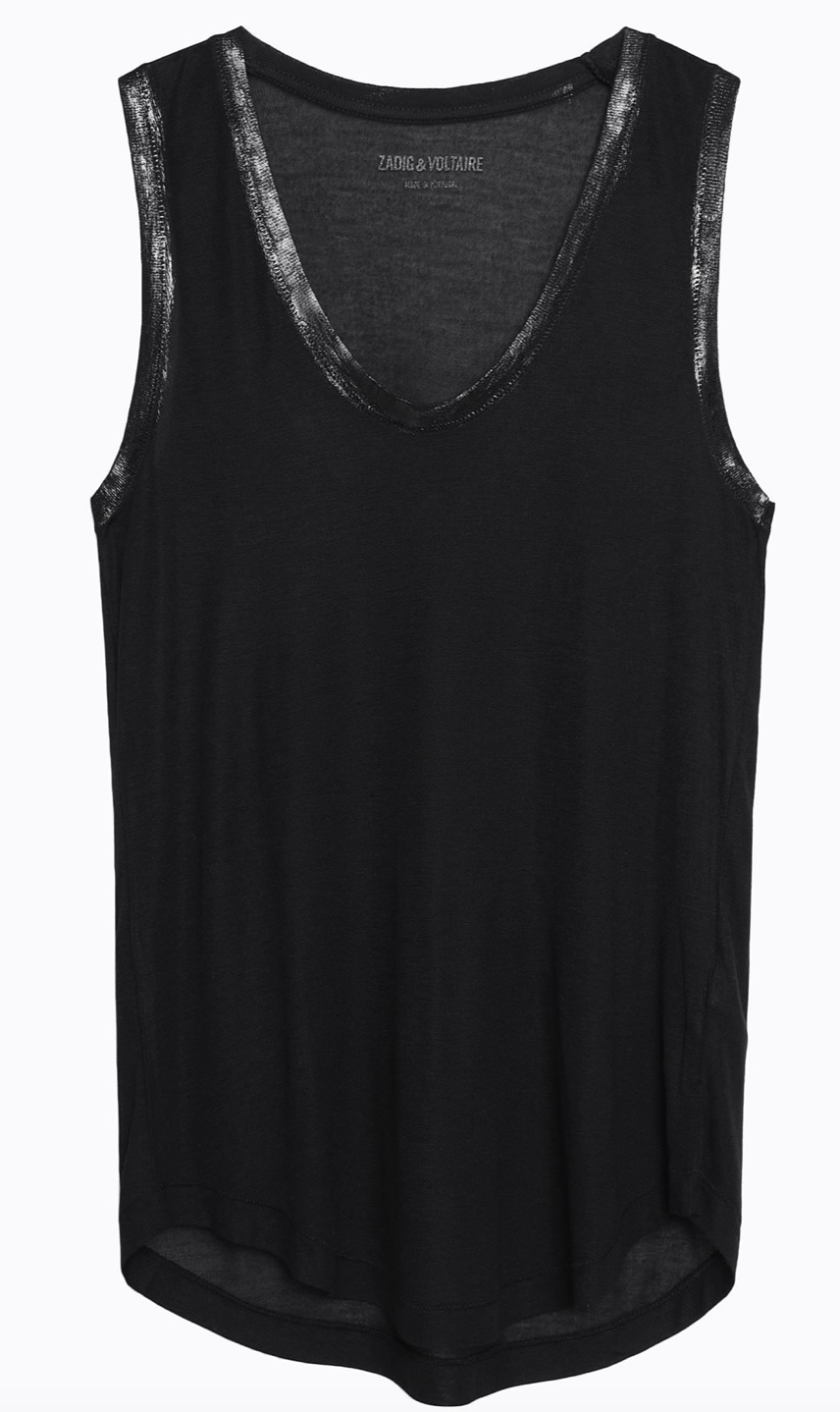 Zadig & Voltaire Tam Foil Tank in Black | 4sisters1closet