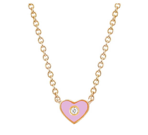 EF Collection 14K Diamond Pink Enamel Heart Necklace