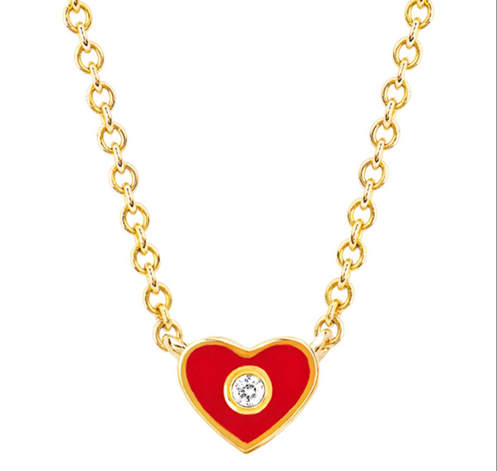 EF Collection 14K Diamond Red Enamel Heart Necklace