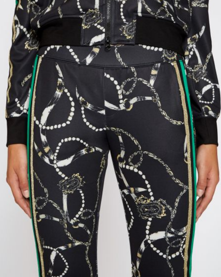 Pam & Gela Microscuba Pant with Green and Gold Stripe