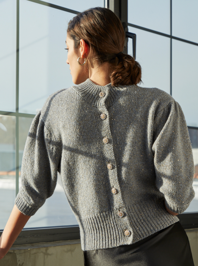 Autumn Cashmere Sequin Reversible Cardigan | 4sisters1closet