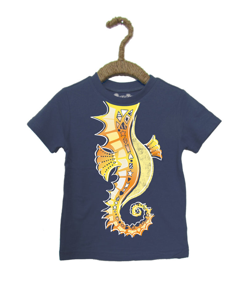 Peek-a-Zoo  Rockin Seahorse Educational Tee in Navy Heather