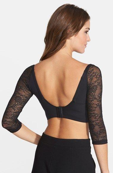 Cosabella Trenta Betsy Lace-Sleeve Push-Up Bra in Black