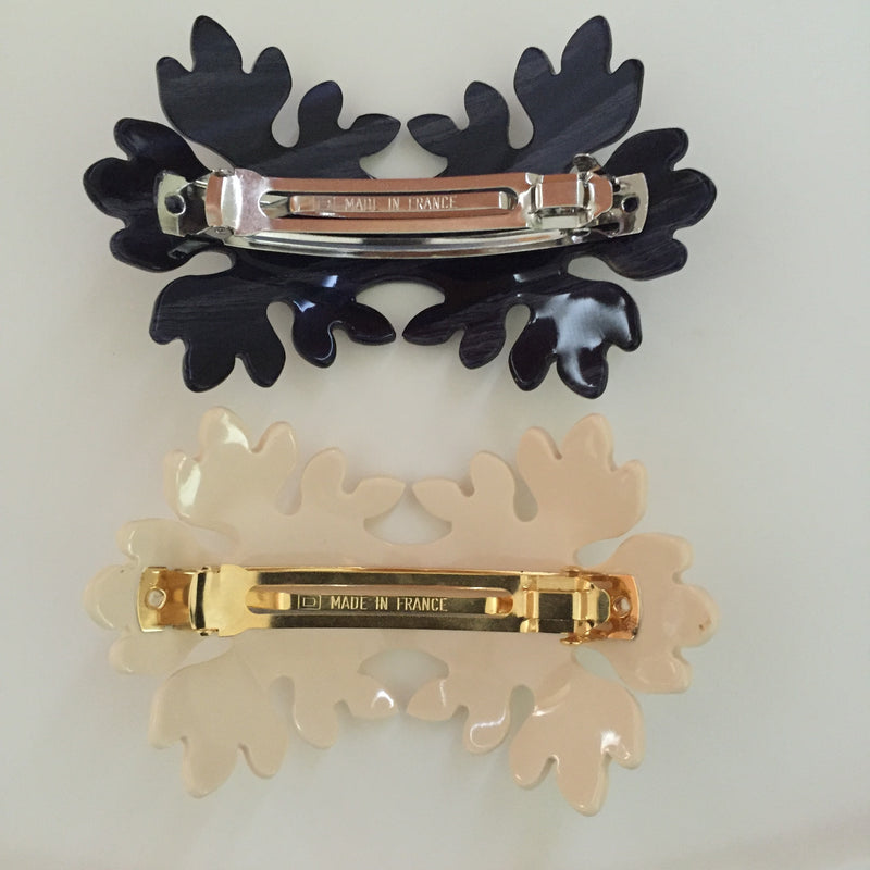 https://4sisters1closet.com/products/french-atelier-barrette-luxe Double leaf barrette. 2.5 x 4 Made in France. Sold by 4Sisters1Closet