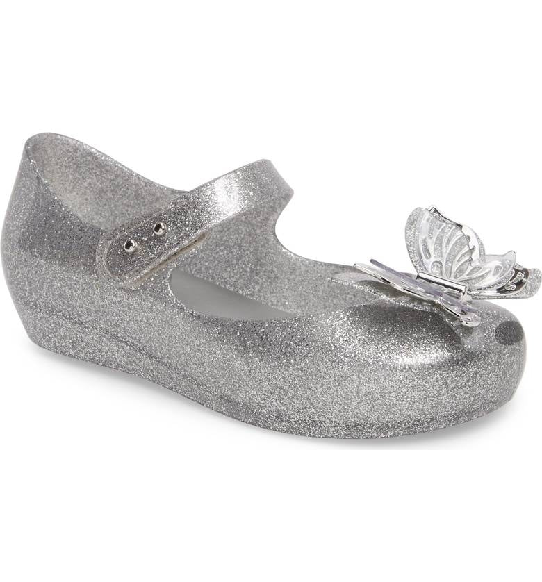 Mini Melissa Ultragirl Fly Shiny Silver Glitter