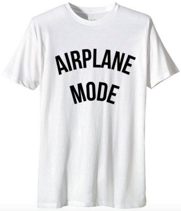 https://4sisters1closet.com/products/departure-airport-mode-tshirt Graphic unisex crew neck t shirt, Airplane Mode! Available only in Size SMALL. Sold by 4sisters1closet.