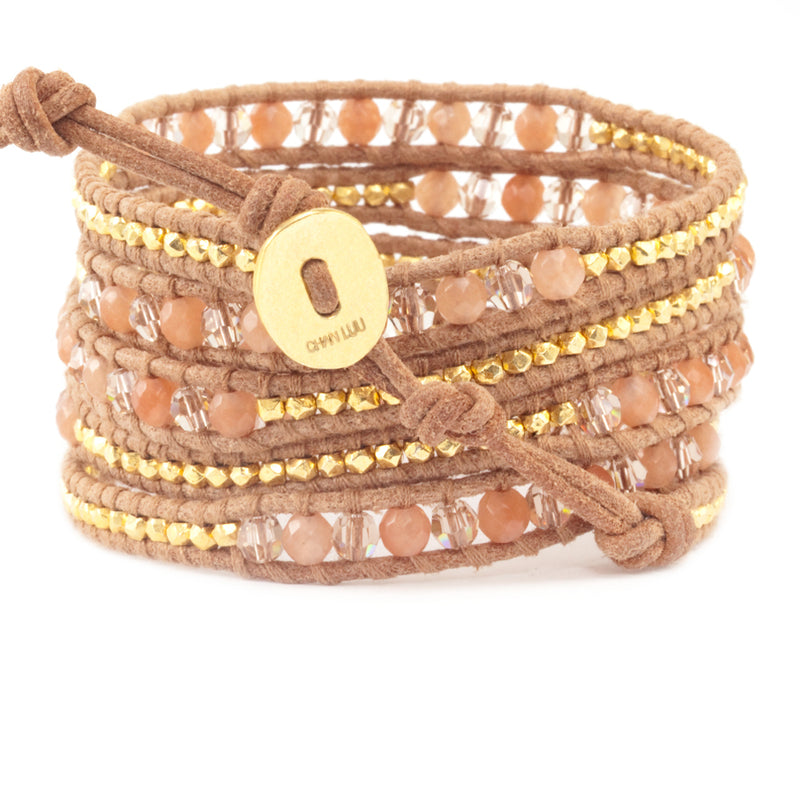 Chan Luu Peach Aventurine Mix Wrap Bracelet on Beige Leather