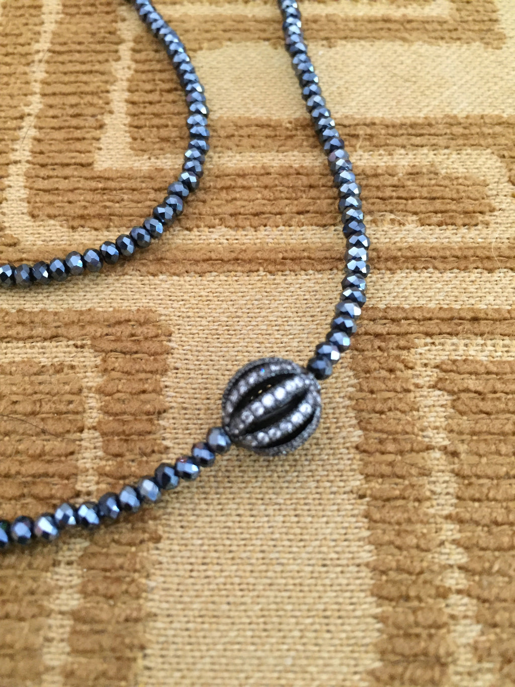 Bettina Duncan Midnight Crystal Necklace with Silver Bead