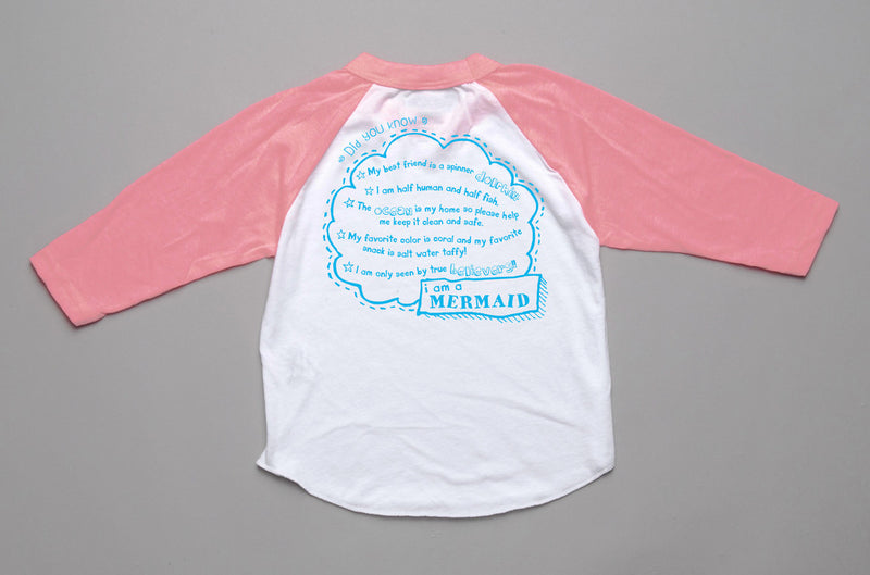 Peek-a-Zoo 3/4 Mermaid Raglan in White/Neon Pink