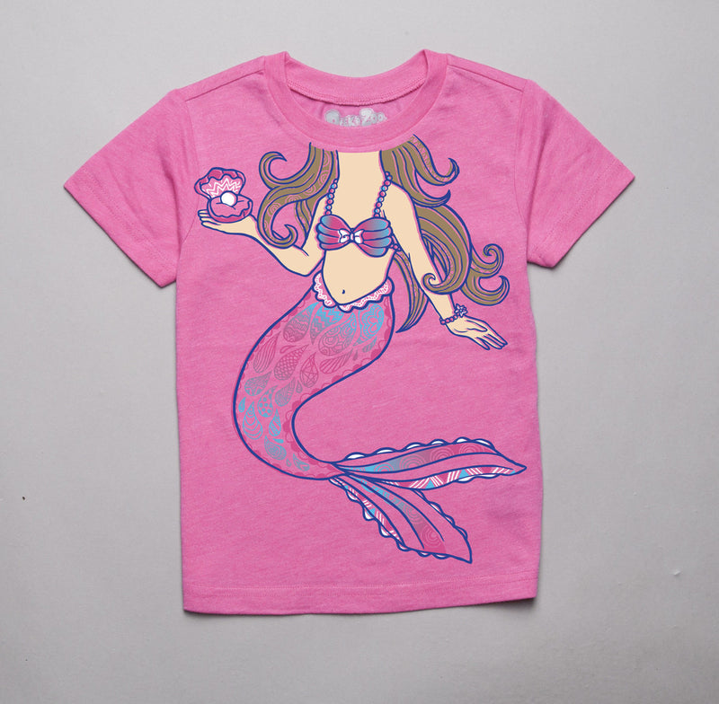 Peek-a-Zoo Mermaid Tee in Hot Pink Heather