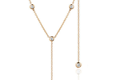 8 Bezel Diamond Lariat in Rose Gold | Necklaces | EF Collection | 4sisters1closet8 Bezel Diamond Lariat in Rose Gold | Necklaces | EF Collection | 4sisters1closet