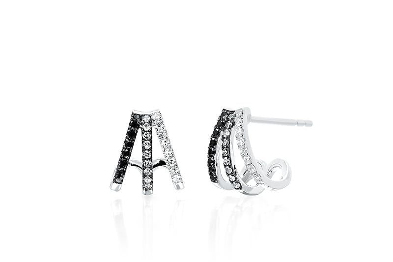 EF Collection Black & White Diamond Fade Multi Huggie Earring