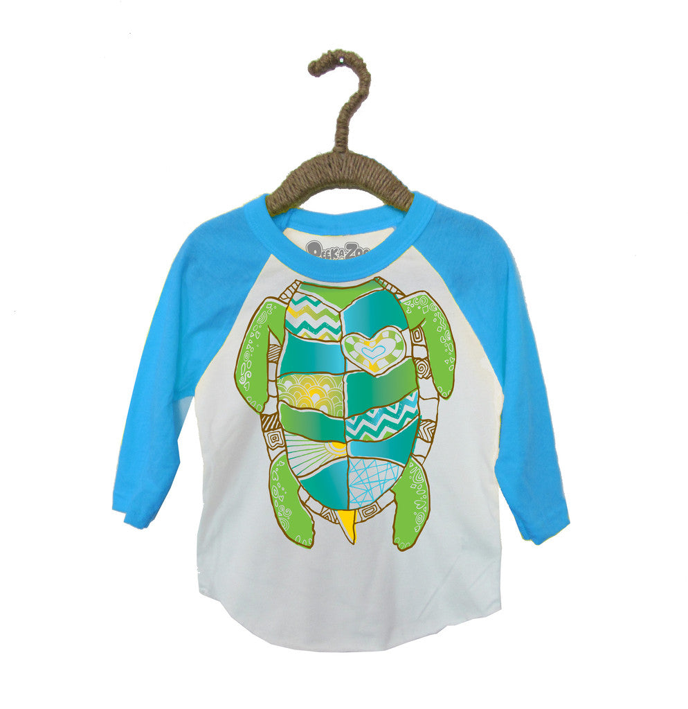 Peek-A-Zoo Turtle in  White/Turquoise