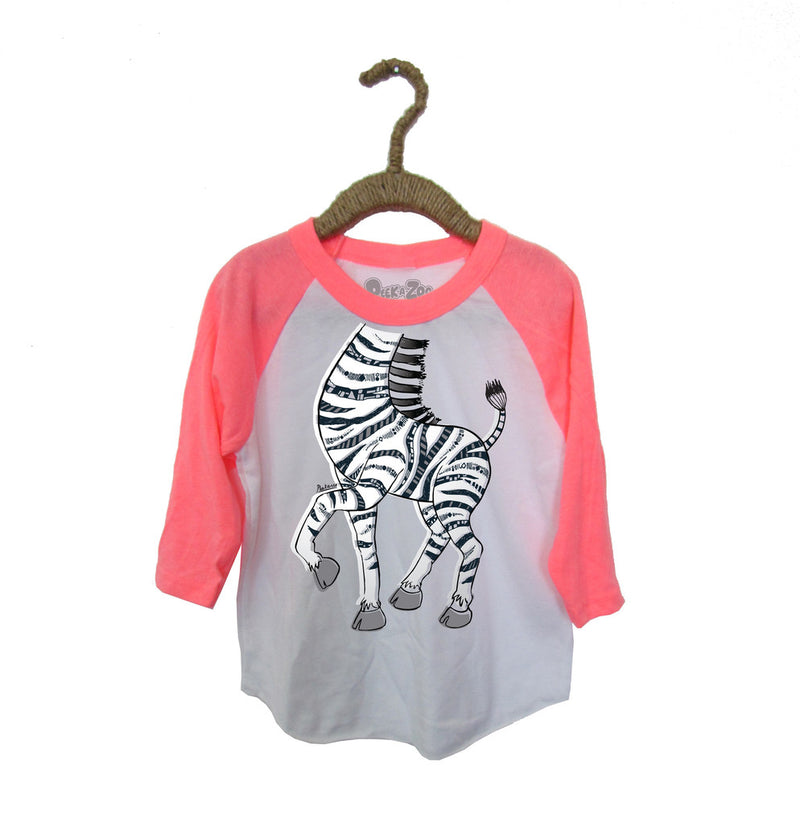Peek-A-Zoo Zebra in  White/Neon Pink